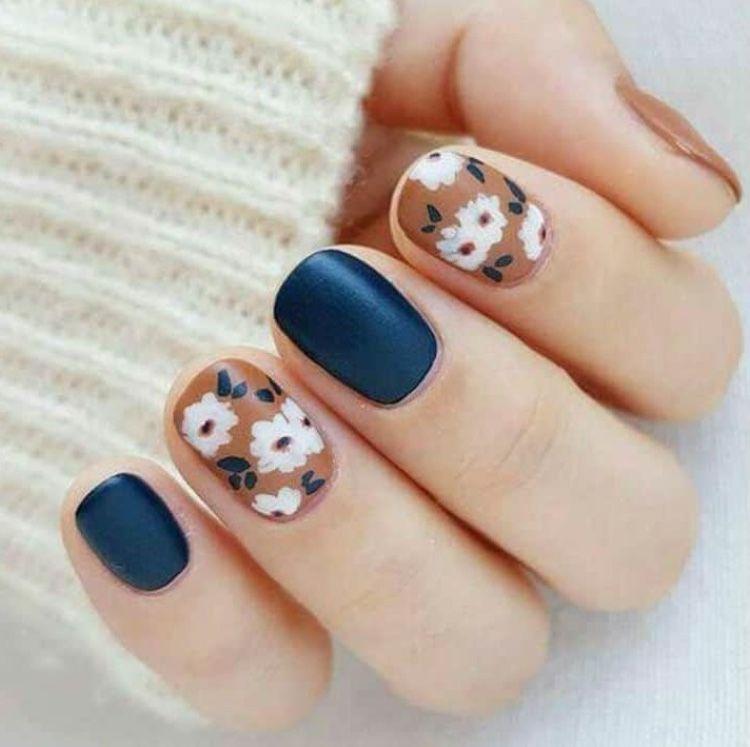 navy nude floral nail print